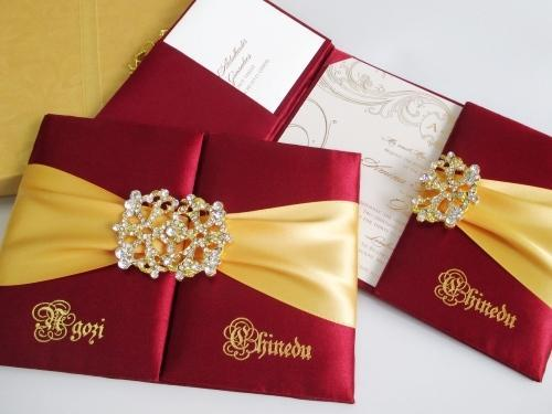 Folio Style Wedding Invitations Red Silk Invitation Manufacturer