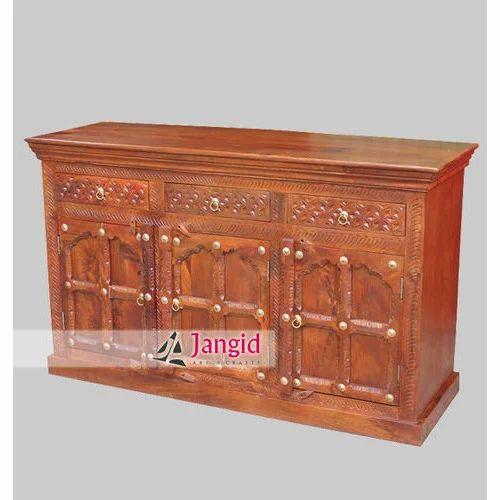 Handicraft Wooden Furniture Indian Wooden Living Room Sideboard
